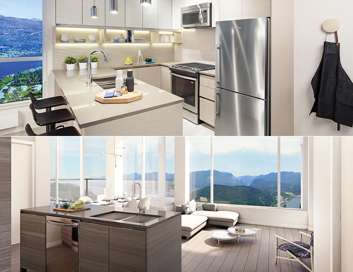 Open concept living spaces with refined and sophisticated features and finishes are presented here at the SFU Peak Burnaby condo development.