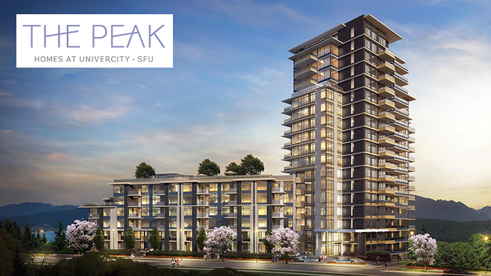 The Peak at SFU condo tower is located in the UniverCity Burnaby West Highlands neighbourhood.