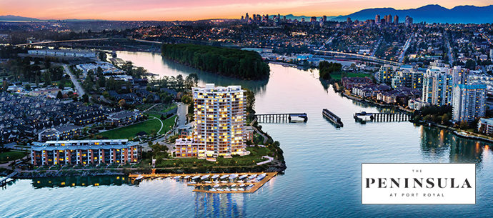 The Peninsula at Port Royal New Westminster waterfront condos by Aragon Properties.