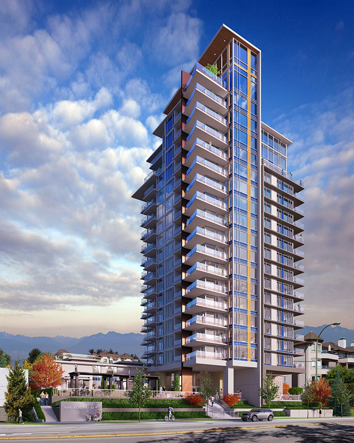 Day-time rendering of the new Union Coquitlam condo tower.