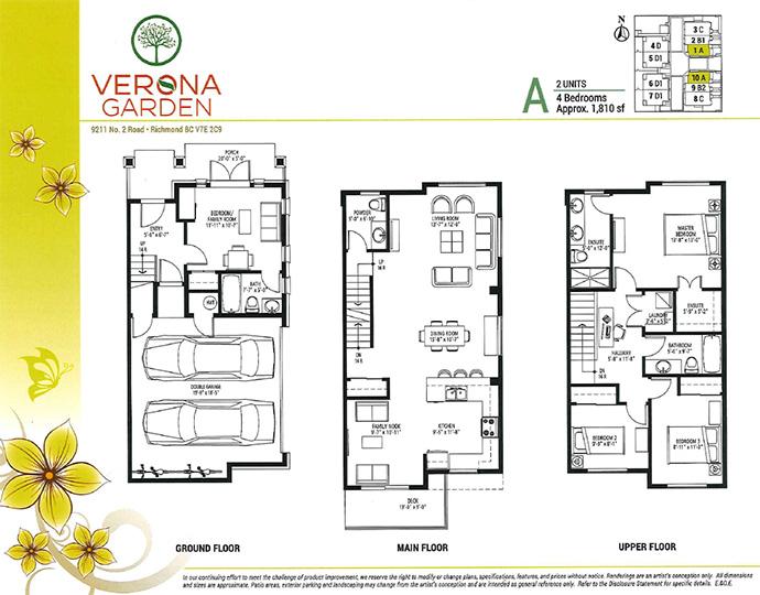 Largest townhome floor plan at Verona Garden in Richmond BC.