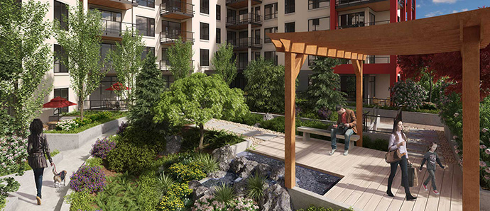 Garden plots, lush landscaping and a central courtyard highlight some of the great amenities here on-site.