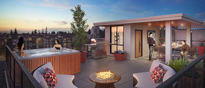 Beautiful roof top deck with optional hot tub and fireplace here at the Adera Virtuoso UBC Vancouver condos.