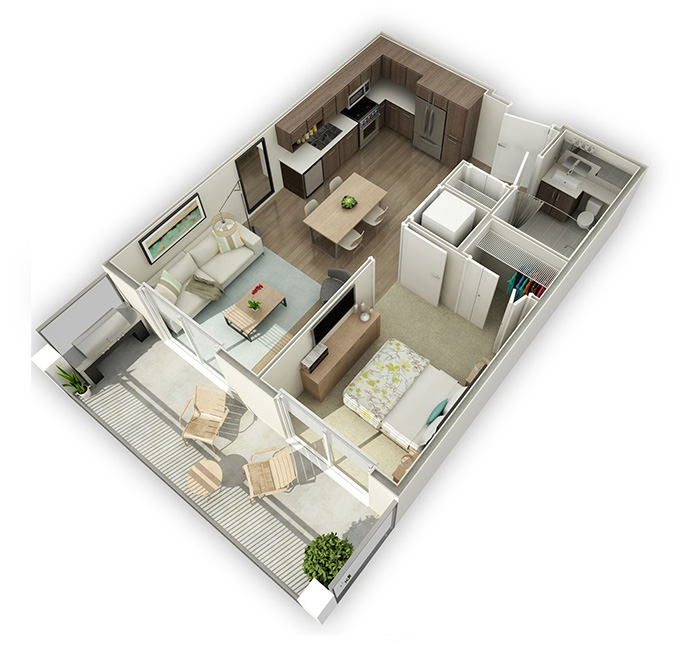 1 Bedroom Westbourne New West condo layout.