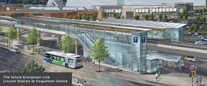 The Evergreen Line Lincoln Avenue Skytrain Station rendering.