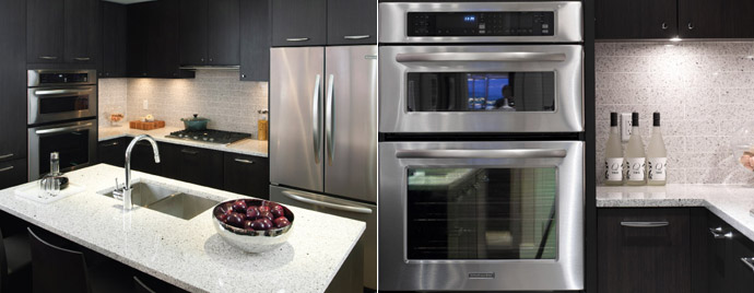 High-end kitchens with KitchenAid Architect Series stainless steel appliances.