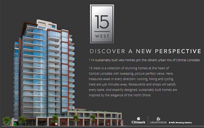 New rendering of the 15 West North Vancouver condo tower at 15th & Chesterfield in Central Lonsdale Community.