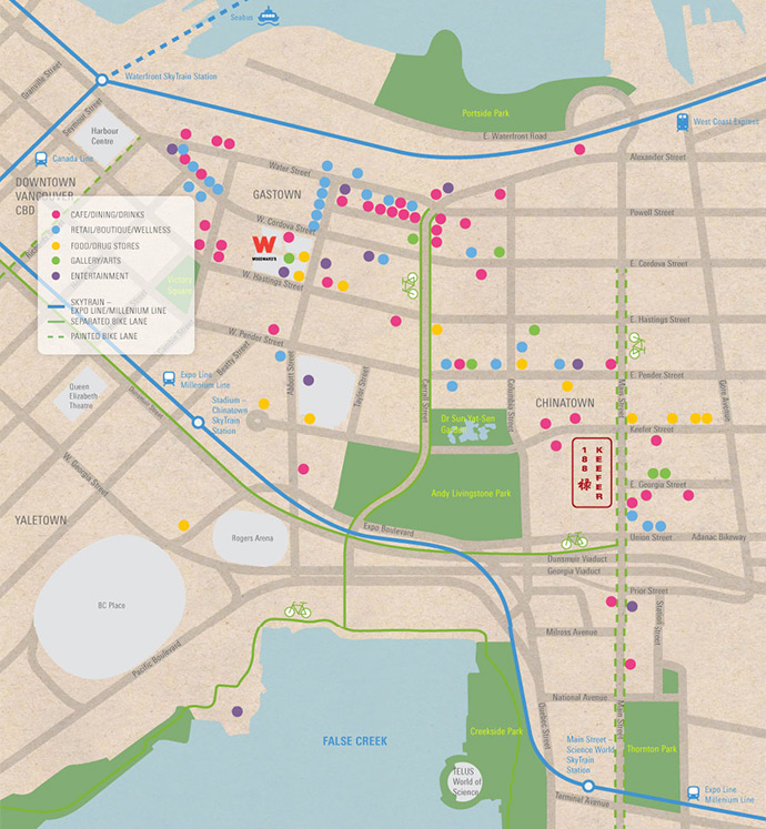 Vancouver Chinatown real estate district map.