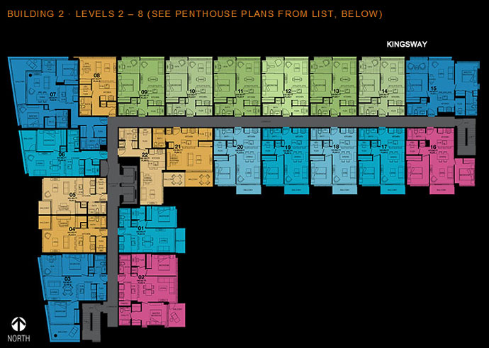 Vancouver Eastside floorplans for Building 2 at 2300 Kingsway real estate property development have also been released.