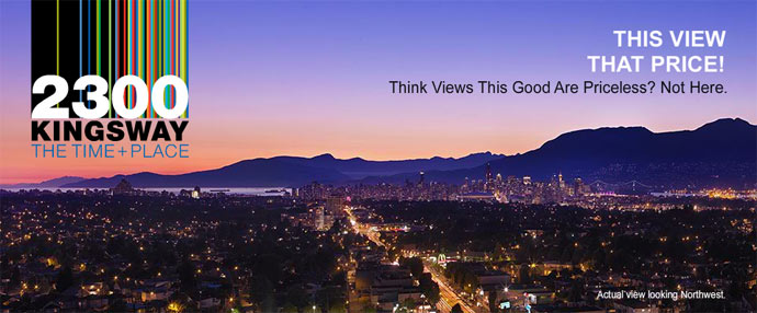 Incredible views of the north shore mountains, water and city are available on many levels at the pre-construction Vancouver 2300 Kingsway condo project.