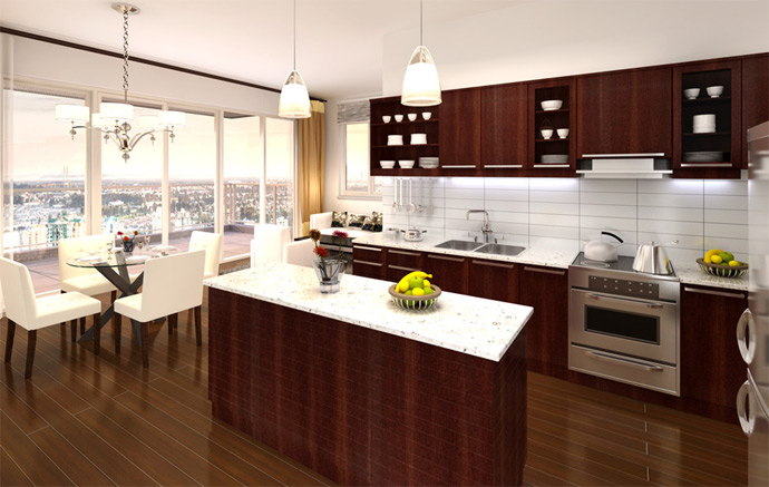Amazing kitchens with soft close drawers, flat panel cabinetry, stainless steel Whirlpool appliances and plank laminate floors.