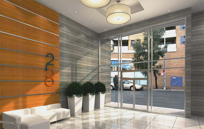 Entrance Lobby to the 258 Condos in New West real estate market.