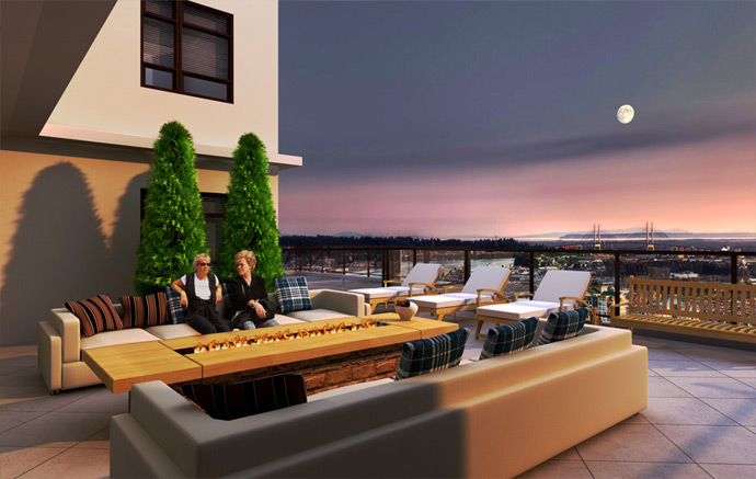 Roof top terrace with green space and lounge area for outdoor enjoyment.
