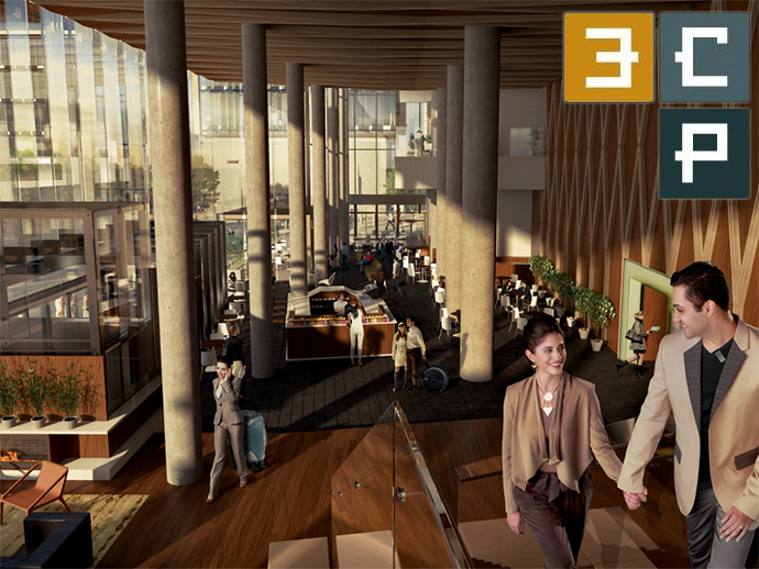 The two storey entrance lobby at 3CP Surrey Downtown high-rise.