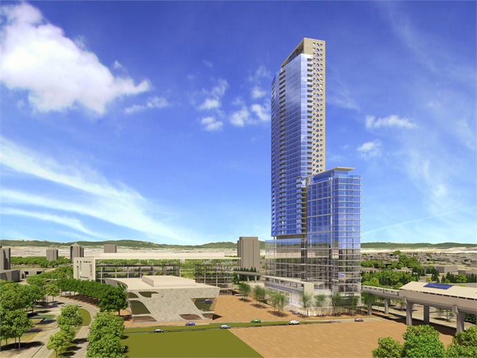 A daytime rendering of the Century Group 3 Civic Plaza Surrey City Centre condo high-rise.