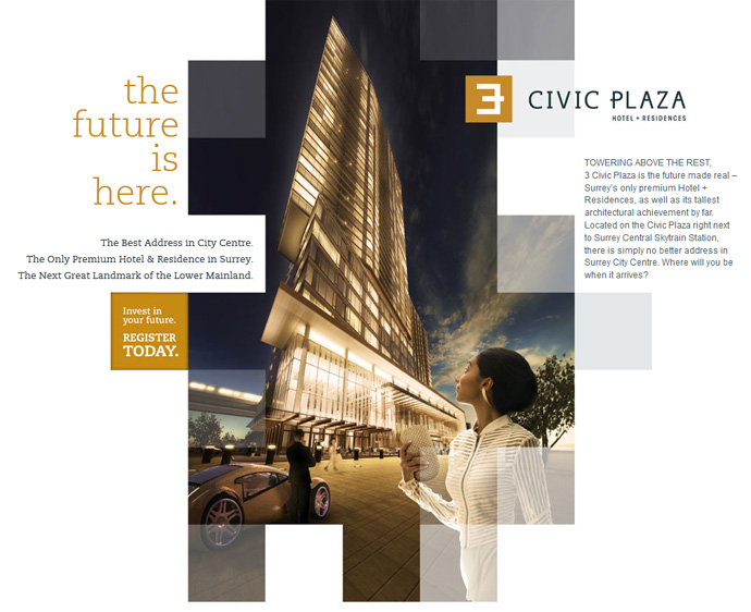 3 Civic Plaza Hotel + Residences in the Surrey City Centre real estate market.