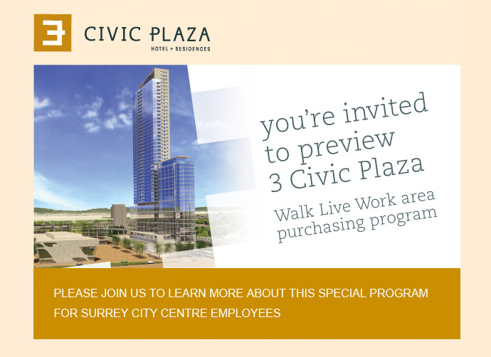 The 3 Civic Plaza Walk Live Work Surrey condo purchasing program for people living and working in the Surrey City Centre neighbourhood.