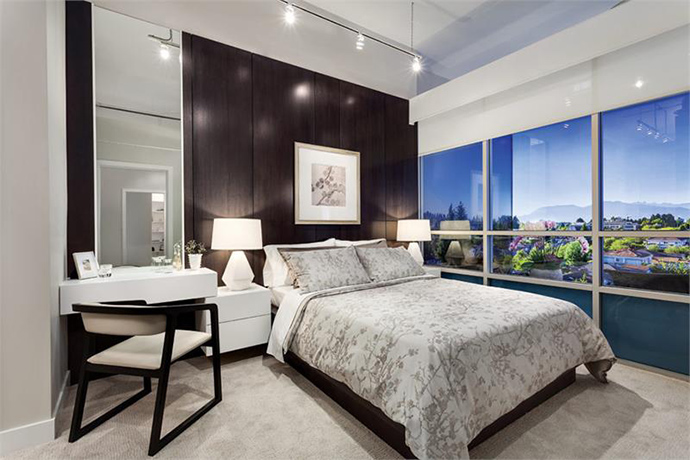 Spacious bedrooms at Oakridge Vancouver 41 West condominiums.