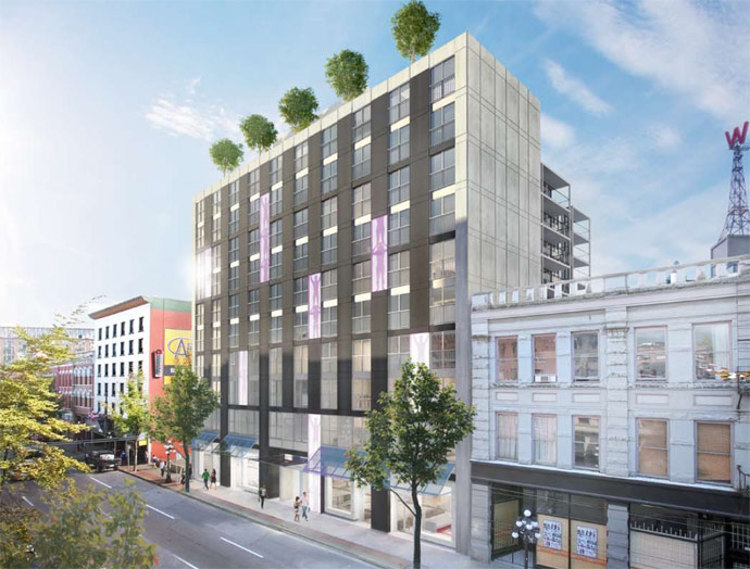 A rendering of the Henriquez Partners Architect designed 60 West Cordova Vancouver affordable condo project.