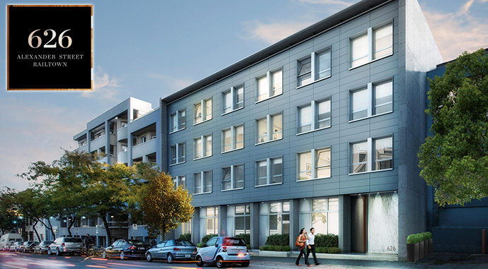 Gair Williamson Architects designed 626 Alexander Railtown courtyard flats and city homes project.