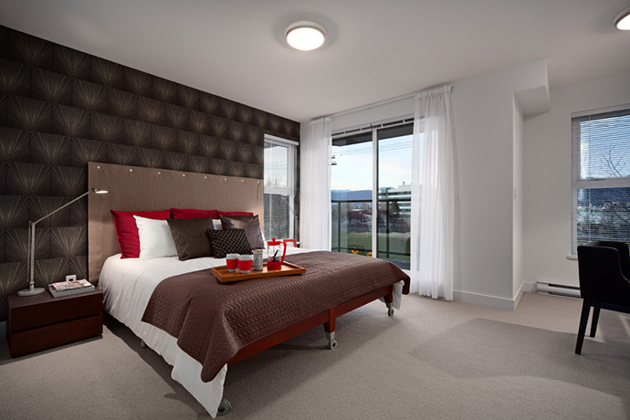 Spacious over sized bedrooms as seen in this interior image at 7 & W Vancouver Townhouses.
