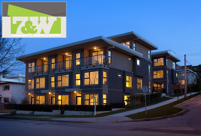 The exterior facade of the new Vancouver 7&W boutique townhomes by APEX Developments.