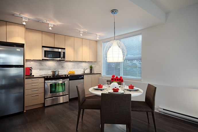 well thought out floor plans allow for open concept kitchens at the Mount Pleasant Vancouver 7andW Townhomes for sale.