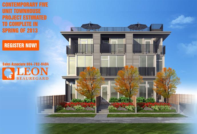 Front rendering of The Adanac Vancouver townhouse five plex development.