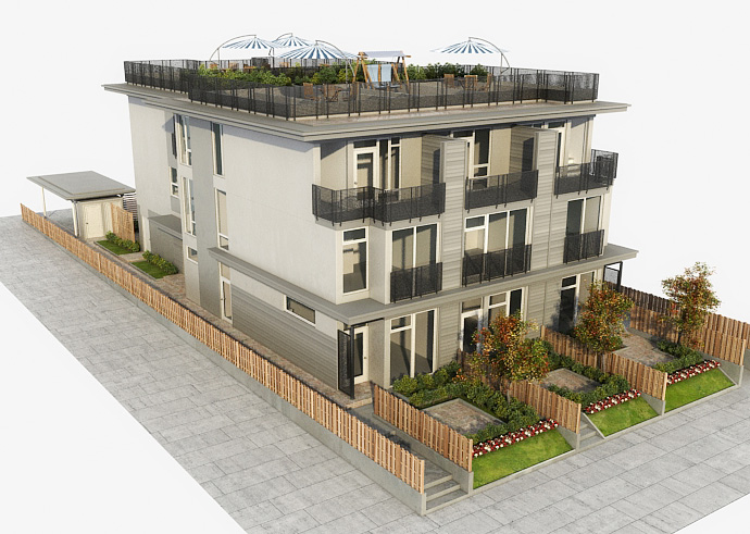 Side rendering of the Commercial Drive Vancouver Adanac Townhomes for sale.