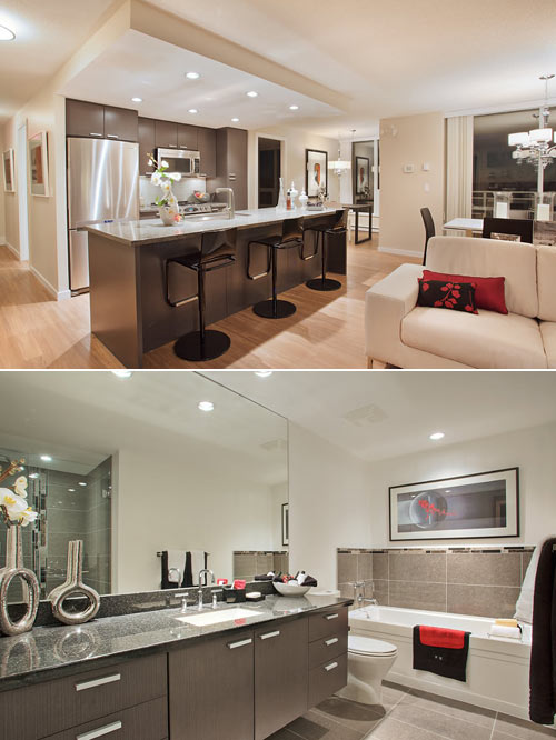 The pre-construction Burnaby condos for sale at the Brentwood Affinity Tower 2 high-rise residences have Cristina Oberti interior design.