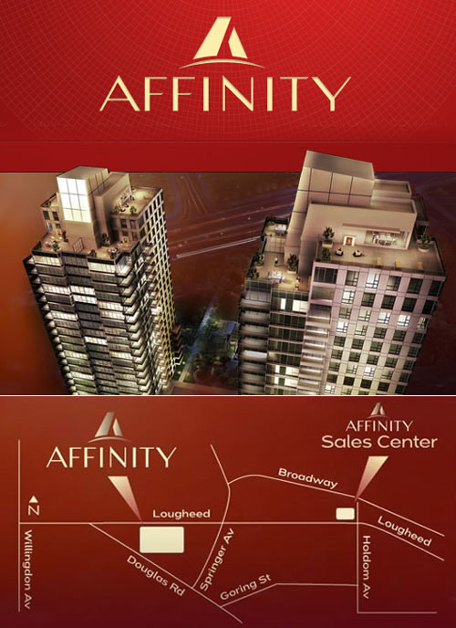 The new launch of the Burnaby Affinity Tower Two condo high-rise BOSA real estate development.