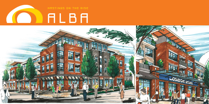 The exterior renderings at the new Vancouver ALBA Apartments in the Hastings Sunrise Vancouver neighbourhood.