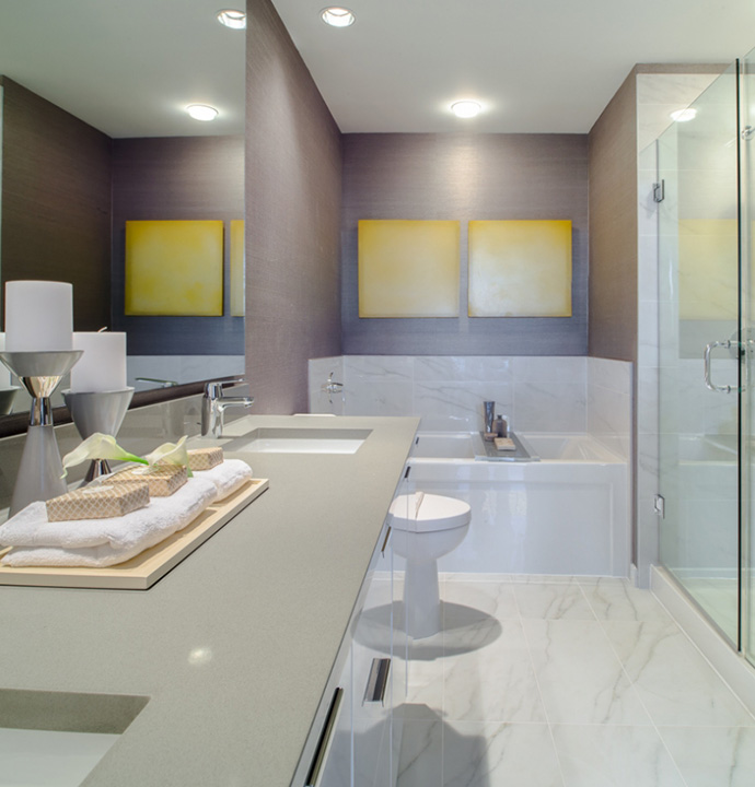 Beautiful bathrooms at Belgravia Richmond presale apartments.