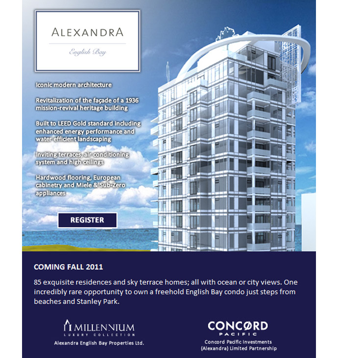 The most highly anticipated Vancouver real estate development this year is at The Alexandra English Bay condo living.