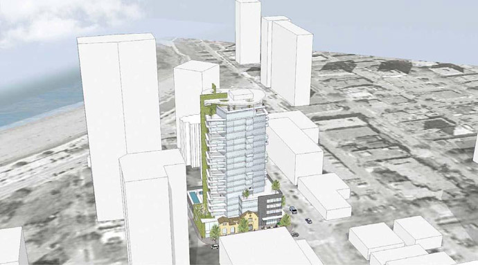 A rendering from the proposal for the English Bay Vancouver Alexandra condo tower.