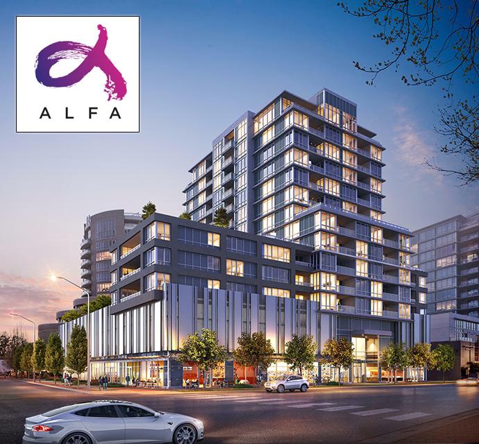 Unique Richmond ALFA Condos with great modern architecture and facade.