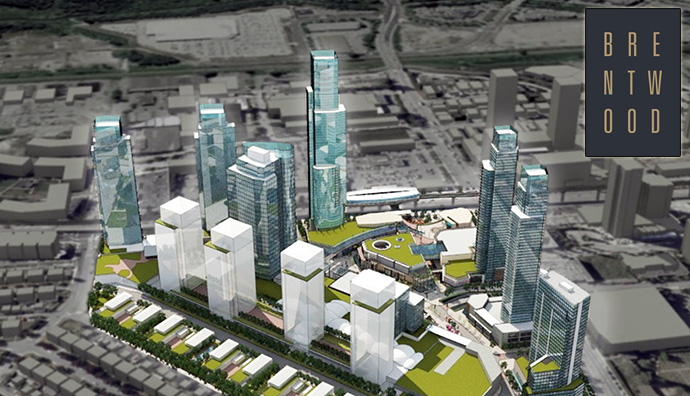 Bird's eye view of the master plan for Burnaby's The Amazing Brentwood by Shape Properties.