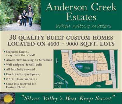 The eco-friendly development at the Maple Ridge Anderson Creek Estates features spectacular new single family homes for sale along the Silver Valley Trail System.