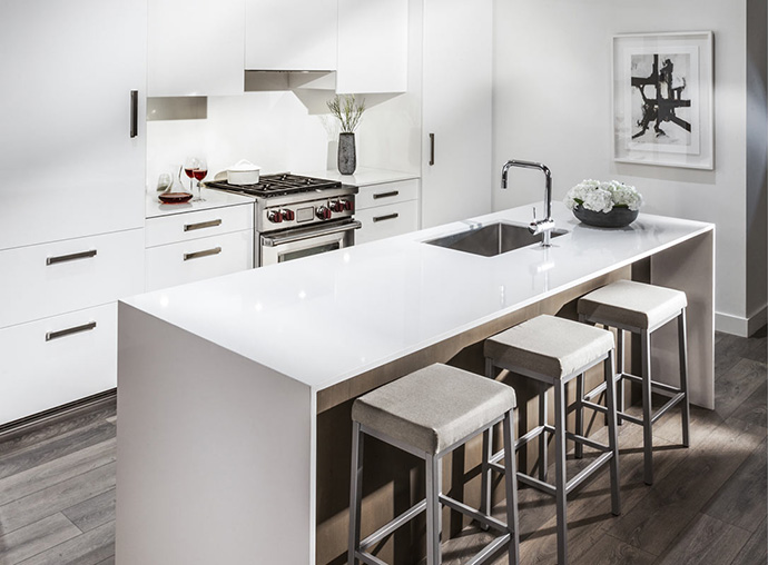 Another rendering of the beautiful kitchens at the Oakridge Aperture Vancouver condos.