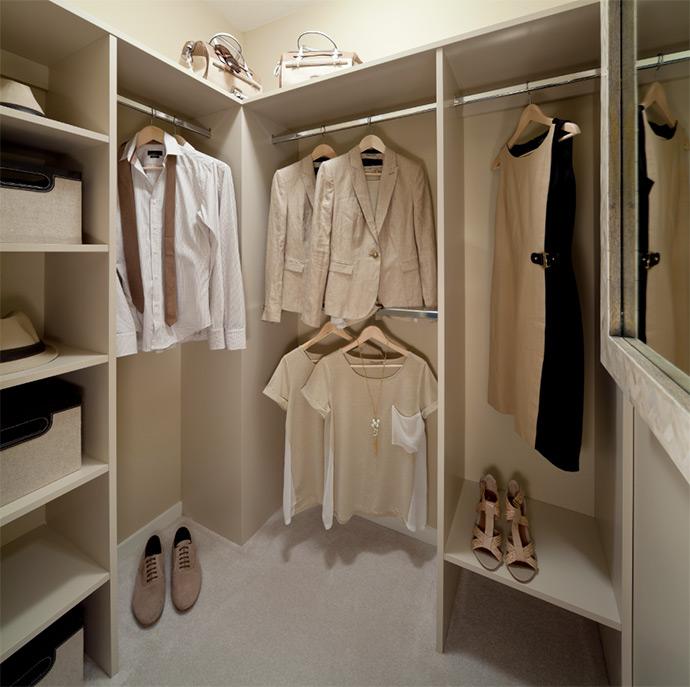 Spacious walk-in closet at Ashbury Hill town homes.
