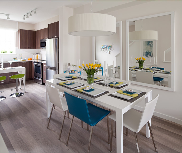 Living spaces at the Panorama Surrey Ashbury Hill townhouse project.