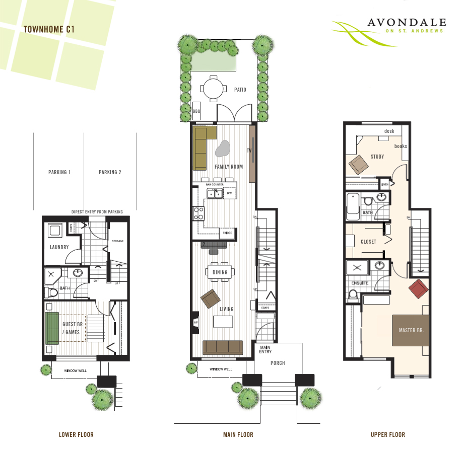 This Avondale floor plan is one of the best family townhouse layouts on the North shore real estate market featuring three full levels of space with 3 bedrooms and 3 full bathrooms.