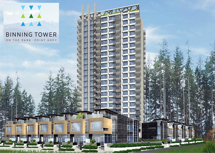 Point Grey Vancouver Binning Tower on the Park condos, townhomes and penthouses for sale.