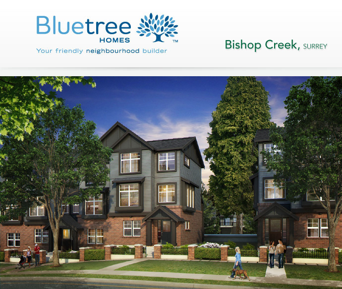 The amazing Craftsman style architecture at the Bluetree Homes at Bishop Creek Surrey townhome development.