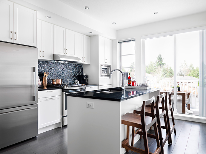 Gourmet kitchens at the Black and Whites Coquitlam Intracorp real estate development.