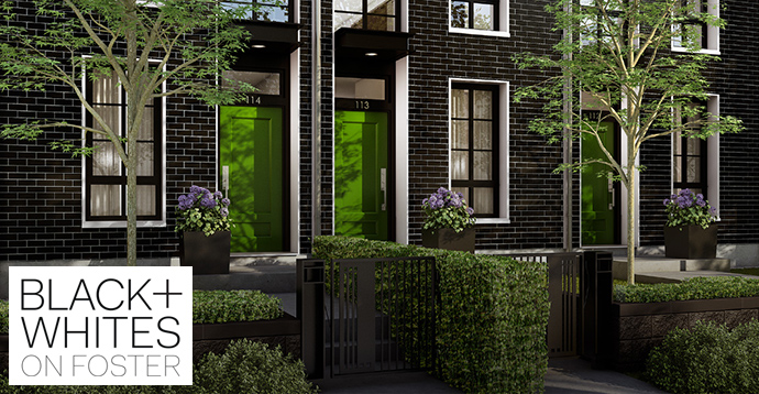 Intracorp presents Black+Whites Rowhomes in West Coquitlam real estate market palce.
