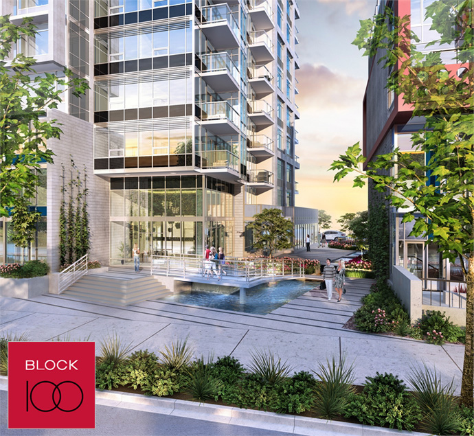 Another rendering of these Onni Block 100 condos in Vancouver False Creek waterfront real estate district.