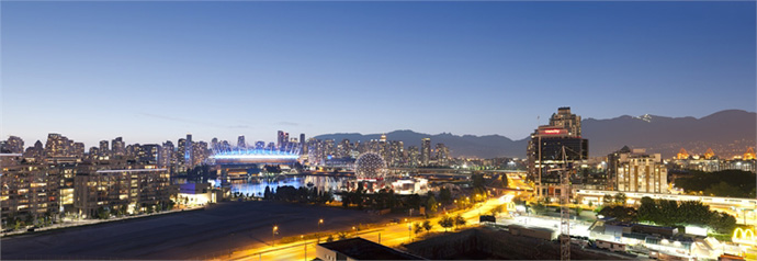 Expansive views from the presale Vancouver Block 100 Townhome project.