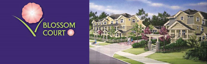 The Blossom Court Surrey townhome project located in the Strawberry Hill community.