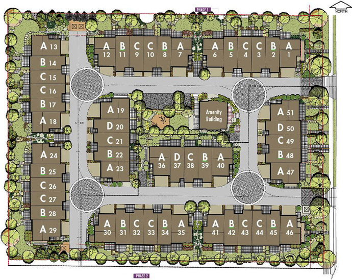 The preconstruction Surrey Blossom Court site plan available for viewing.